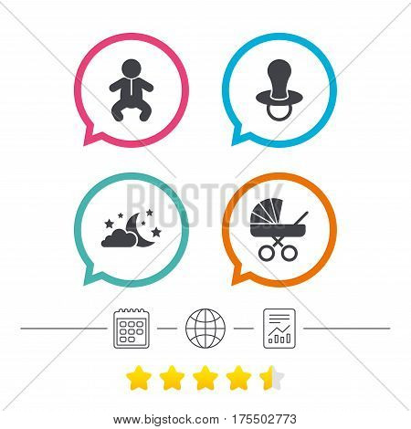 Moon and stars symbol. Baby infants icon. Buggy and dummy signs. Child pacifier and pram stroller. Calendar, internet globe and report linear icons. Star vote ranking. Vector