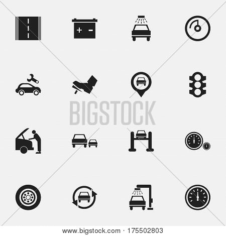 Set Of 16 Editable Traffic Icons. Includes Symbols Such As Treadle, Speed Control, Race And More. Can Be Used For Web, Mobile, UI And Infographic Design.