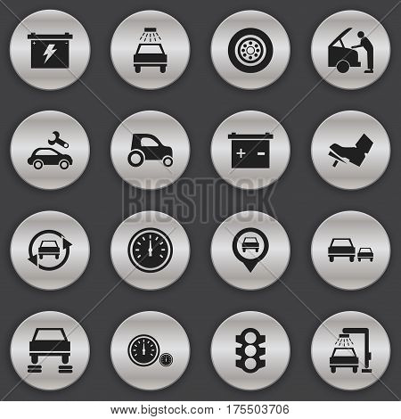 Set Of 16 Editable Vehicle Icons. Includes Symbols Such As Accumulator, Vehicle Car, Automotive Fix And More. Can Be Used For Web, Mobile, UI And Infographic Design.
