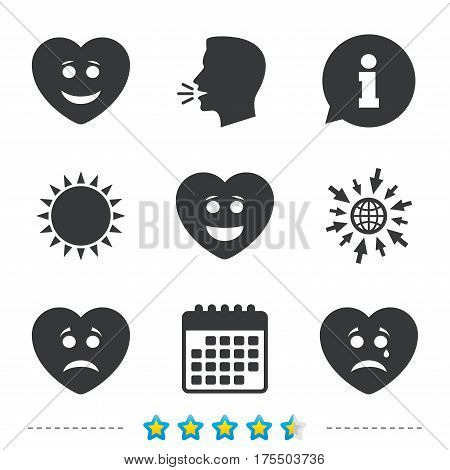 Heart smile face icons. Happy, sad, cry signs. Happy smiley chat symbol. Sadness depression and crying signs. Information, go to web and calendar icons. Sun and loud speak symbol. Vector