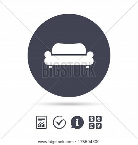 Comfortable sofa sign icon. Modern couch furniture symbol. Report document, information and check tick icons. Currency exchange. Vector