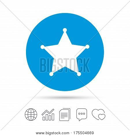 Star Sheriff sign icon. Police button. Sheriff symbol. Copy files, chat speech bubble and chart web icons. Vector
