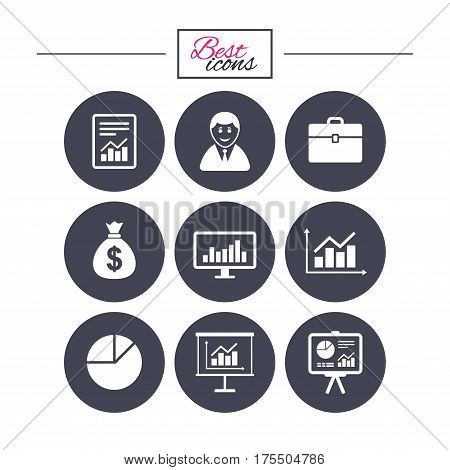 Statistics, accounting icons. Charts, presentation and pie chart signs. Analysis, report and business case symbols. Classic simple flat icons. Vector