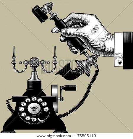 Hand of man with retro black phone. Vintage engraving stylized drawing