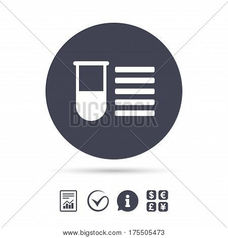 Medical test tube sign icon. Test list. Laboratory equipment symbol. Report document, information and check tick icons. Currency exchange. Vector