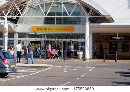 Basingstoke, Uk - March 9Th 2017: Entrance To The Morrisons Supermarket. Morrisons Is A Leading Uk F