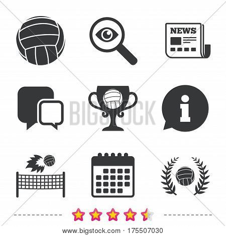 Volleyball and net icons. Winner award cup and laurel wreath symbols. Beach sport symbol. Newspaper, information and calendar icons. Investigate magnifier, chat symbol. Vector