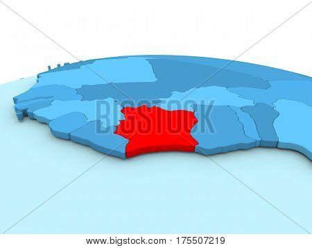 Ivory Coast On Blue Globe
