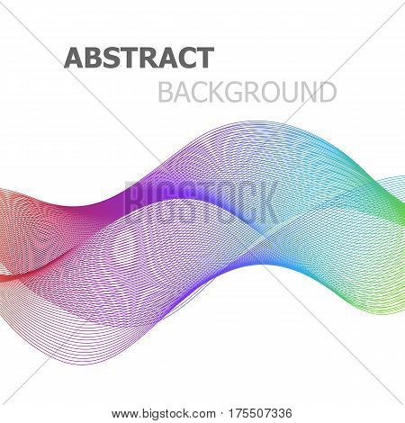 Abstract colorful line wave background, stock vector