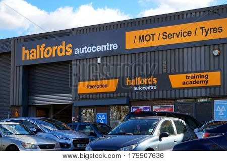 Basingstoke, Uk - March 9Th 2017: Exterior Of The Halfords Autocentre Mot Service And Tyres Centre