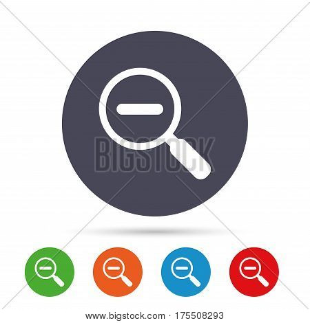 Magnifier glass sign icon. Zoom tool button. Navigation search symbol. Round colourful buttons with flat icons. Vector