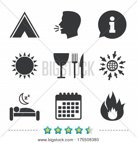 Food, sleep, camping tent and fire icons. Knife, fork and wineglass. Hotel or bed and breakfast. Road signs. Information, go to web and calendar icons. Sun and loud speak symbol. Vector