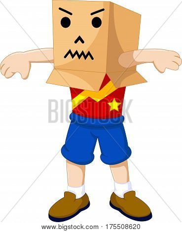funny boy cartoon playing cardboard for you design