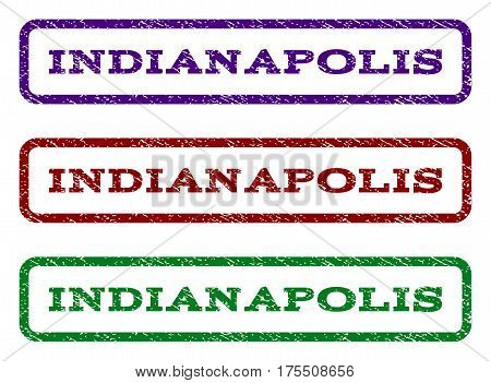 Indianapolis watermark stamp. Text tag inside rounded rectangle with grunge design style. Vector variants are indigo blue, red, green ink colors. Rubber seal stamp with dirty texture.