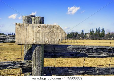 Wooden sign post pointing to right space for text illyllic countryside background