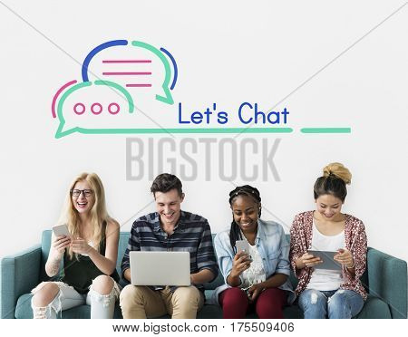 People Using Technology Let's Chat