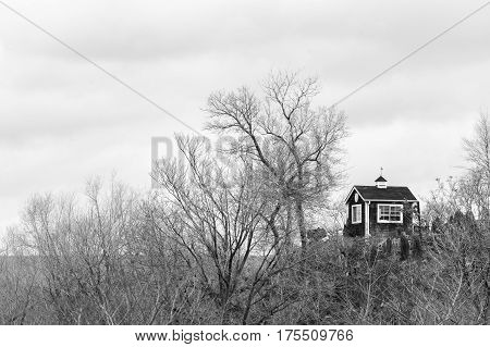 Small modest hut on top of a high hill surrounded by winter bare forest rustic scene in black and white
