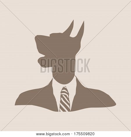 Doberman dog dressed up in black suit. Silhouette of a dog head. Vector Illustration. Monochrome gamma. Businessman metaphor