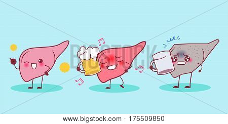 cute cartonn liver drink beer with cirrhosis problem concept
