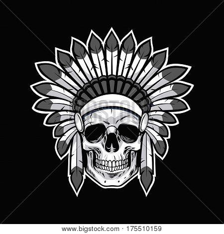 Skull of Native American Indian Warrior Vector