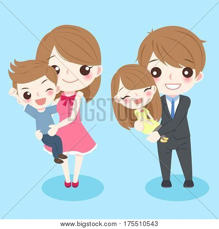happy cartoon family smile happily with blue background