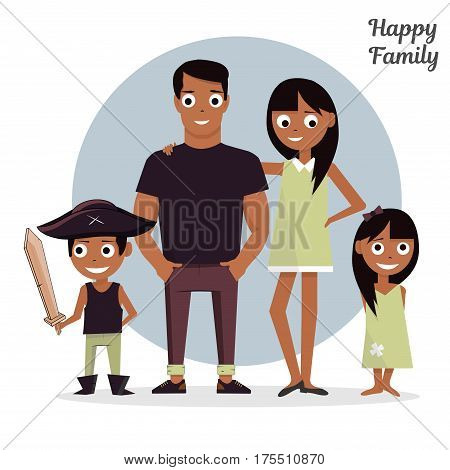 Cartoon characters Mom, Dad with a daughter and a son. Vector illustration, isolated on white background happy family.