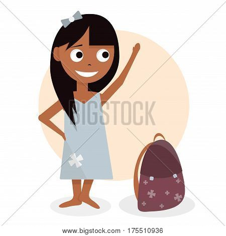 Schoolgirl with the briefcase. Character design for animation. Girl cartoon animated vector illustration. Isolated on white background.