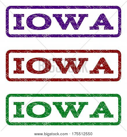 Iowa watermark stamp. Text caption inside rounded rectangle with grunge design style. Vector variants are indigo blue, red, green ink colors. Rubber seal stamp with scratched texture.