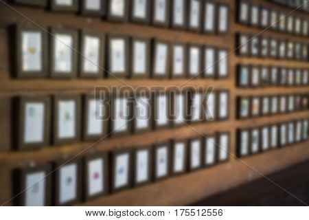 Wall Of Mini Wooden Frames stock photo