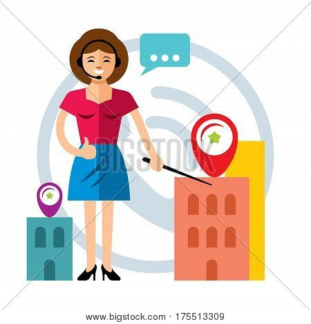 Female customer support operator with headset and smiling. Isolated on a white background