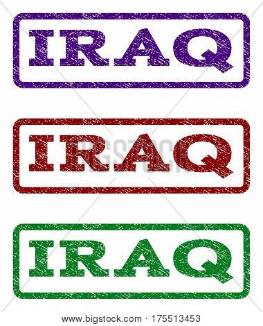 Iraq watermark stamp. Text caption inside rounded rectangle frame with grunge design style. Vector variants are indigo blue, red, green ink colors. Rubber seal stamp with dirty texture.