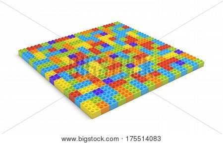 3d rendering of many toy blocks in different colors making up one large square shape. Toys and games. Leisure and recreation.