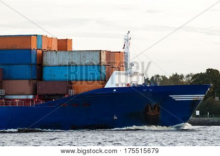 Blue Container Ship's Bow