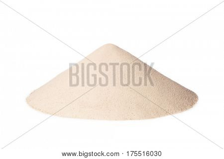 pile of white sand.Isolated on a white background
