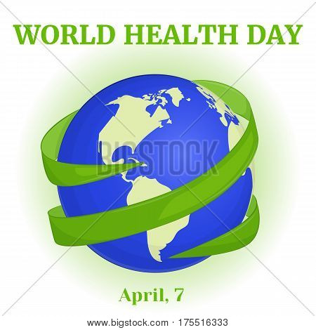World Health Day background with green ribbon around globe in simple cartoon style. Vector illustration for you design, card, banner, poster, calendar or placard template. April 7. Holiday Collection.