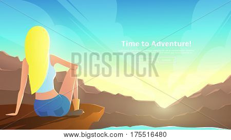 The girl is sitting on the ledge of the mountain. A woman looks at the dawn between the mountains. Vector illustration. Web banner on the theme of summer vacation.