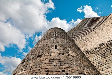 Old tower. Maiden Tower in Baku city