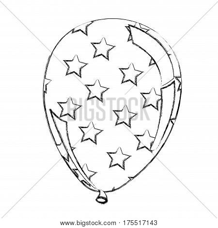 silhouette balloon with stras independece day icon, vector illustraction design