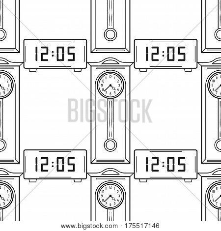 Electronic watch and grandfather clock, flat linear objects. Black and white seamless pattern for coloring book