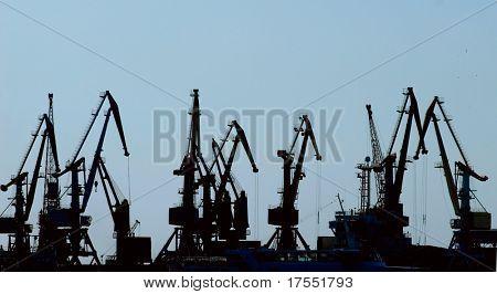 Silhouettes of hoisting cranes in harbor