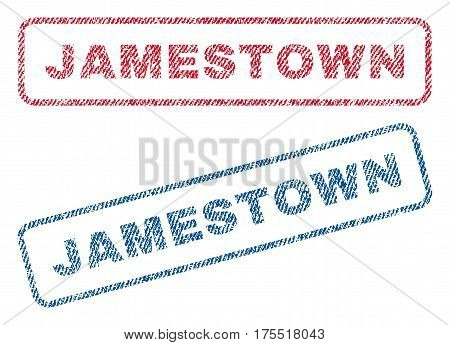 Jamestown text textile seal stamp watermarks. Blue red fabric vectorized texture. Vector caption inside rounded rectangular banner. Rubber sign with fiber textile structure.