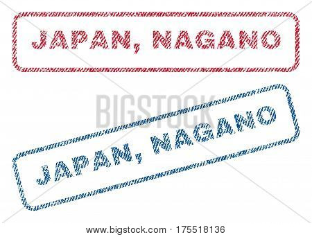 Japan Nagano text textile seal stamp watermarks. Blue red fabric vectorized texture. Vector tag inside rounded rectangular banner. Rubber sticker with fiber textile structure.