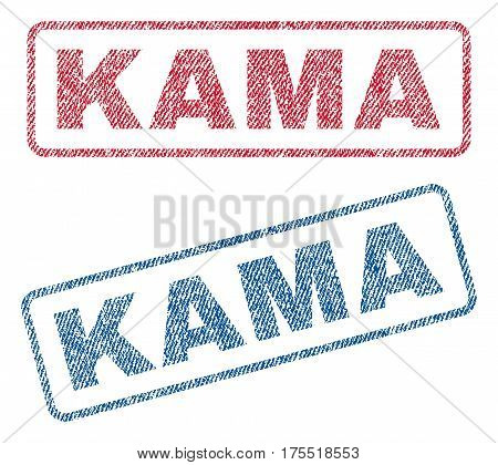 Kama text textile seal stamp watermarks. Blue red fabric vectorized texture. Vector caption inside rounded rectangular banner. Rubber sign with fiber textile structure.