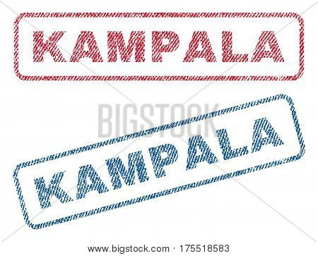 Kampala text textile seal stamp watermarks. Blue red fabric vectorized texture. Vector caption inside rounded rectangular banner. Rubber sticker with fiber textile structure.