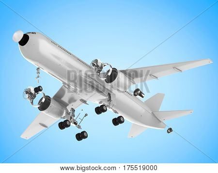 3d rendering white airplane split off machine parts on white background