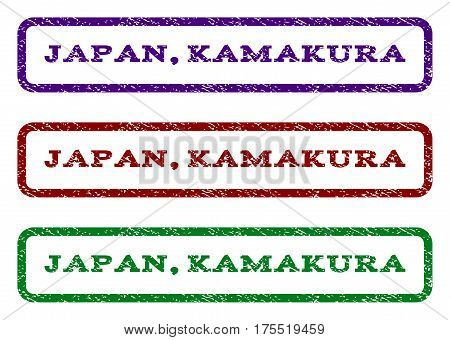 Japan, Kamakura watermark stamp. Text caption inside rounded rectangle with grunge design style. Vector variants are indigo blue, red, green ink colors. Rubber seal stamp with unclean texture.