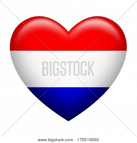 Heart shape of Netherlands insignia isolated on white