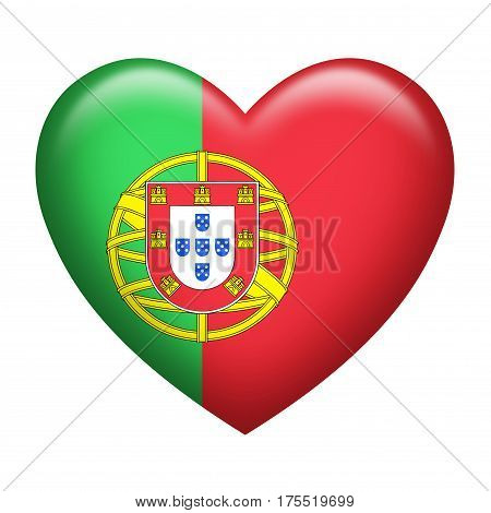 Heart shape of Portugal insignia isolated on white