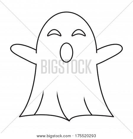 ghost april fools s day thin line vector illustration eps 10