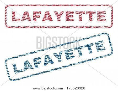Lafayette text textile seal stamp watermarks. Blue red fabric vectorized texture. Vector tag inside rounded rectangular banner. Rubber sign with fiber textile structure.
